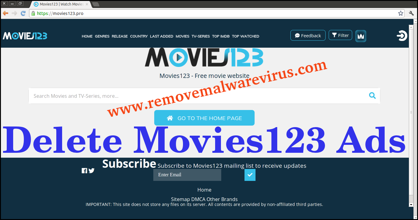 Elimina Movies123 annunci