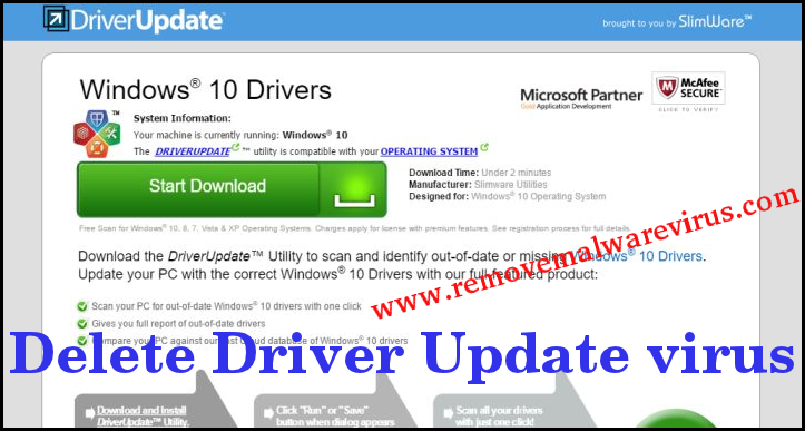 Delete Driver Update virus