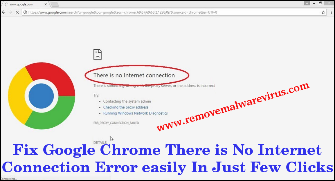 Fix Google Chrome There is No Internet Connection Error