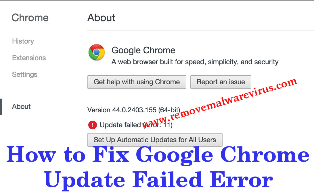 Know How to Fix Google Chrome Update Failed Error