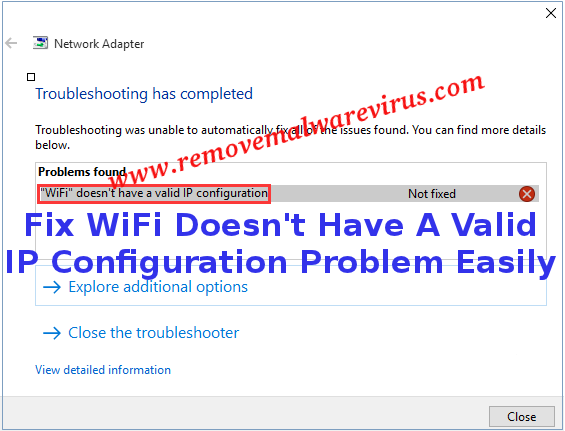 Fix WiFi Doesn't Have A Valid IP Configuration Problem