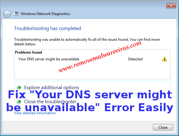 fix Your DNS server might be unavailable