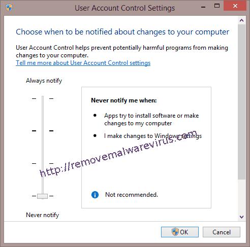 User Account Control Settings window in Windows 8 Best Solution To Resolve Windows update error 0x80070020
