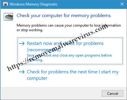 memory diagnostic tool Resolve Kernel Security Check Failure error in Windows 10