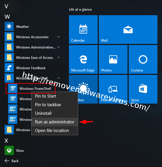 run powershell from start menu How To Mend Corrupted Calculator App on Windows 10?