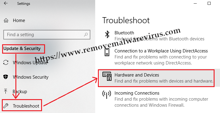 Hardware and Devices troubleshooter Resolve Bluetooth Not Available Issue On Windows 10
