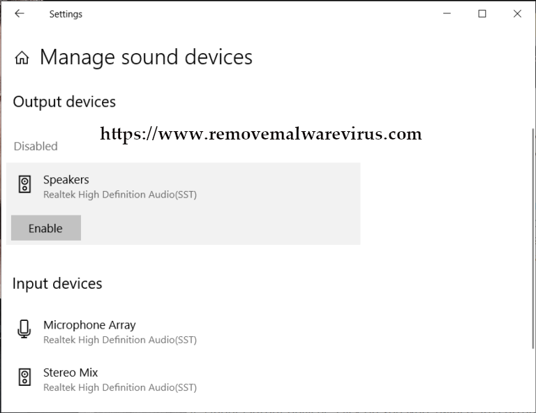 Under Output devices (Resolved) Headphones Not Working In Windows 10