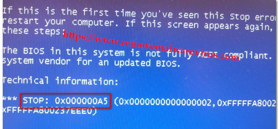 stop error (Resolved) 0X000000A5 Blue Screen Stop Error on Windows